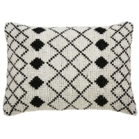 Kissen aus ecrufarbener Wolle und Baumwolle mit schwarzen Motiven 40x60 Loti