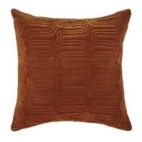 ERNST - Kissen aus gestepptem Baumwollsamt, cognacfarben, mit aufgestickten goldenen Motiven 45x45