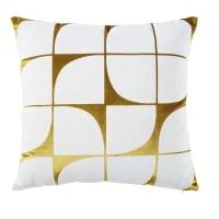 Kissen aus goldenem Samt mit weißen, grafischen Motiven 45x45 Moonstone