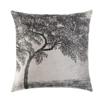 Kissen aus grauem Samt mit aufgedrucktem Baum-Motiv in Schwarz 45x45 Hyppolite