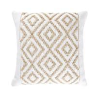 Kissen aus Jute und Baumwolle mit grafischen Motiven 45x45