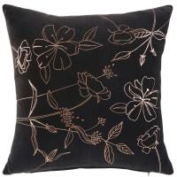 Kissen aus schwarzem Samt mit kupferfarbenem Blumenmuster 45x45 Dalhia