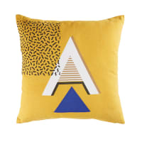 Kissen aus senfgelber Baumwolle mit grafischen Motiven 45x45