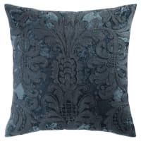 Kissen aus Velours und Wolle blau-bestickt, 45x45 Peruge