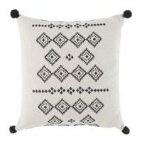Kissen aus weißer Baumwolle mit grafischen Motiven in Schwarz 45x45 Mansi