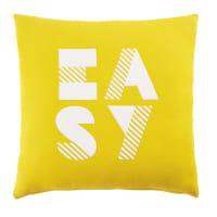 Kissen, gelb mit weißem Druckmotiv, 40x40 Easy
