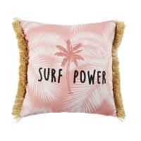 Kissen mit Fransen, rosa und weiß mit tropischem Druckmuster 40x40 Surfing
