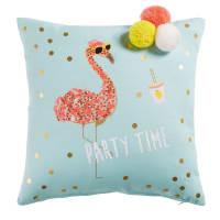 Kissen, türkisblau mit Flamingo-Motiv, 40x40 Party Time