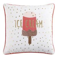 Kissen, weiß mit Eis-Motiv, 40x40 Ice Cream