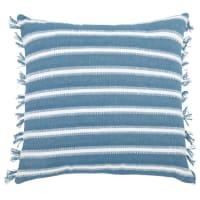 Kissenbezug aus Baumwolle, blau und naturweiß 40x40 Corse
