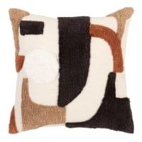 OUSMANE - Kissenbezug aus Baumwolle, braun, beige und schwarz, 40x40