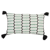 ALIANDRO - Set aus 2 - Kissenbezug aus Baumwolle, grün, schwarz und ecrufarben mit Pompons 30x50