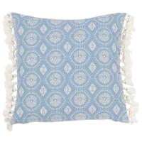 Kissenbezug aus Baumwolle mit Quasten, blau und naturweiß 40x40 Galapagos