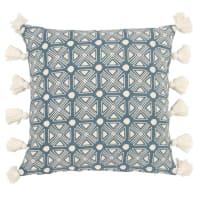 Kissenbezug aus Baumwolle mit Quasten, blau und naturweiß 40x40 Ama