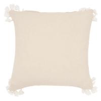 Kissenbezug aus Baumwolle mit Quasten, naturweiß 40x40 Polynesie