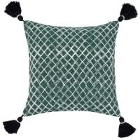 BRADCAP - Kissenbezug, grün, mit silberfarbenen geometrischen Motiven, 40x40cm