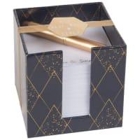 Kit bloc de notas de papel y bolígrafo dorado