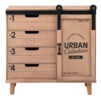 WOBURN - Kleines Aufbewahrungsmöbel mit 1 Tür und 4 Schubladen, bedruckt