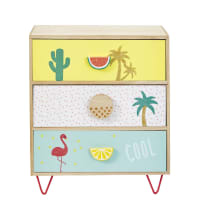 Kleines Aufbewahrungsmöbel mit 3 Schubladen bedruckt mit tropischem Motiv Tropicool