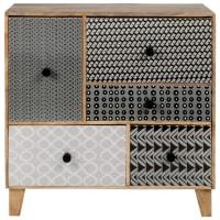 BINTOU - Kleinmöbel mit 5 Schubladen aus massivem Mangoholz mit grauen, schwarzen und weißen Fantasie-Motiven