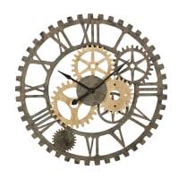 Klok met raderwerk van grenen en zwart metaal D100 Springfield