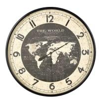 Klok wereldkaart van zwart metaal D96 Atlas