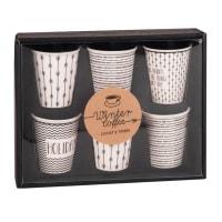 Koffertje met 6 wit porseleinen kopjes met zwart motief Holidays