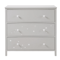 Kommode mit 3 Schubladen, grau mit weißem Sternenmotiv Celeste