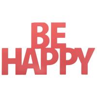 Koraalroze wanddecoratie woord 48x26 Be Happy