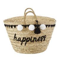 Korb aus bestickter Pflanzenfaser mit Pompons Happiness