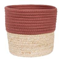 Korb aus Maisfaser und ziegelsteinroter Baumwolle