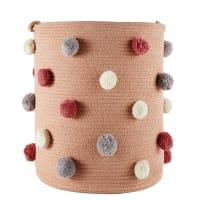 SUZON - Korb mit bunten Pompons, rosa