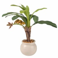 Kunstmatige bananenboom in witte pot