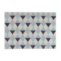 Kurzflorteppich blau mit grafischen Motiven, 140x200 Nordic
