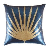 Kussen met omkeerbare goudkleurige en blauwe lovertjes met print 45x45 California