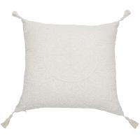 Kussen van wit katoen met pompons 45x45 Mandala