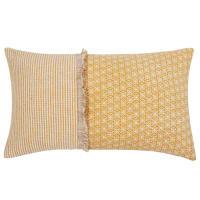 Kussenhoes van geel en ecru katoen 30x50 Germini