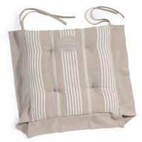 cotton stripe chair pad in beige La Bastide