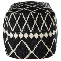 cotton pouffe with black and white motifs 45 x 45 x 45 cm Lagia