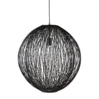 Lampada a sospensione con fili in rattan nera 63 cm Solaire