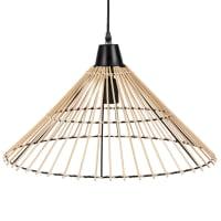 OSCAR - Lampada a sospensione in bambù e metallo nero