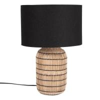 SUNDANCE - Lampada in bambù e iuta intrecciata con paralume in lino nero