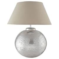 Lampada in ottone e abat-jour in tela H 50 cm Salvador