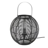Lámpara de exterior trenzada de imitación a fibra vegetal negra Iba
