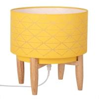 Lámpara de pino y pantalla amarilla Piercing