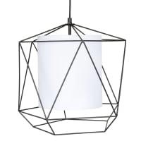 ORISSA - Lámpara de techo de algodón blanco y metal negro