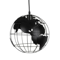 Lámpara de techo globo terráqueo de metal negro calado