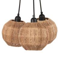 RODEZIA - Lámparas en racimo de fibra vegetal y metal negro