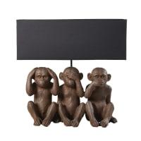 Lampe 3 singes et abat-jour noir Gandhi