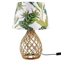 PAULA - Lampe boule en rotin tressé et abat-jour imprimé végétal